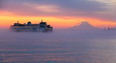 Beautiful Morning (E. Hanson) Tags: seattle morning winter sky seascape water fog sunrise landscape scenery mt pacificnorthwest pugetsound sunrises washingtonstate pnw mtranier washingtonstateferry kingstonwashington canonrebelt3i