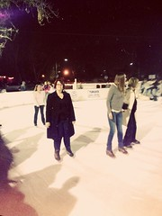 Wife on Ice ([ the black star ]) Tags: woman 3 cold girl lady glasses skating things jacket stuff wife adventures iceskates angela shrug lomofilter andgoodtimes theblackstar uploaded:by=flickrmobile flickriosapp:filter=lomo