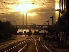 evening trackscape (mugley) Tags: road city bridge trees sky people urban orange sun black trafficlights water architecture clouds digital standing river walking iso200 cityscape glare zoom streetlamps silhouettes kitlens engineering australia melbourne olympus surface victoria wires yarra docklands rays asphalt pylons f8 streetscape bitumen digger customs urbanlandscape excavator victoriaharbour boltebridge tramtracks citylink warmtones nearsunset latrobest 1442 42mm hellscape port1010 stoppeddown mirrorless 13200s micro43 microfourthirds epm1 mzuiko1442mmf3556iir olympusepm1 penmini