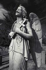 untitled (Jenzie73) Tags: blackandwhite monochrome cemetery religious nikon cross highcontrast statues 50mm14 angels crucifix sleepyhollowcemetery d7000