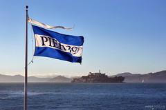 Alcatraz Island - San Francisco, California (Andrea Moscato) Tags: blue sea usa water rock america bay us mare unitedstates blu flag prison therock pier39 acqua isola bandiera baia prigione carcere statiuniti andreamoscato