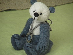 Shy Pingu (The Craggy Moor) Tags: bear blue white love leather cord miniature panda sweet handmade embroidery ooak small mini charm teddybear handsewn collectible jointed moveable