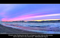 Sunset over Lake Michigan (SannePhotos (S. Douthitt)) Tags: pink winter sunset sky chicago ice beach clouds coast nikon lakemichigan d5000 sarahdouthitt sannephotos