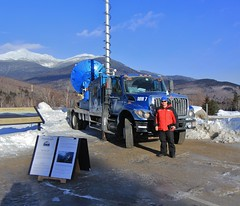 Standing in front of the DOW (rightthewrong) Tags: new blue white mountains washington skies mt adams great wheels trails peak nh visit hampshire presidential glen clear mount observatory madison summit february feb range doppler obs notch dow pinkham mwo presidentials dopplar 2013