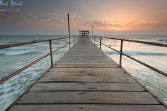 Fintas Pier Sunrise! - Kuwait (AlkhashabNawaf) Tags: bridge sea sun seascape beach water sunshine sunrise pier nikon waves hard lee nd kuwait nikkor filters 06 d800 nawaf 1635 fintas الكويت gnd لي شروق نيكون نواف فلتر الفنطاس فلاتر الخشاب alkhashab دي٨٠٠
