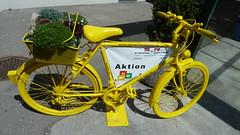 yellow bike (micky the pixel) Tags: fahrrad velo bicycle bike bicyclette gelb yellow reklame werbung meilen schweiz suisse switzerland smileonsaturday sunnyyellow