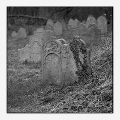 Revisited (Polar Noire) Tags: cemetery graveyard germany deutschland ancient cemetary tombstone churchyard grabstein allemagne ruhrgebiet dortmund burialground cimetire kirchhof pellicule hasselblad500cm pierretombale hohensyburg planar80mm syburg graveart ruhrdistrict photographieargentique polarnoire