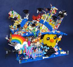 Fall of Cloud Cuckoo Land (Imagine) Tags: lego benny rainbows emmet wyldstyle vitruvius cloudcuckooland unikitty imaginerigney micromanagers thelegomovie legomoviesubmarine
