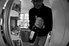 There's a fisheye in my fridge..... (Dafydd Penguin) Tags: portrait bw white black monochrome self bristol fridge nikon wine creative nikkor 16mm f28 d600 fisheeye