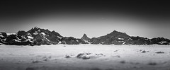 Switzerland: Valais Alps (B&W) (Frederic Huber | Photography) Tags: schnee winter sea blackandwhite bw white snow black ski mountains alps monochrome fog canon landscape mono schweiz switzerland suisse dom swiss powder glacier matterhorn svizzera wonderland schwarzweiss gletscher landschaft weiss wallis schwarz bnw huber winterwonderland valais aletsch frederic aletschgletscher weisshorn