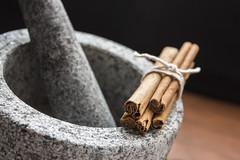 Cinnamon sticks (Scott Outten) Tags: brown cooking cinnamon spice mortar string pestle cinnamonsticks
