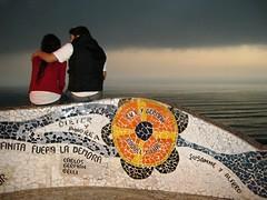Plaza del Amor - Lima - Peru (IG: @maira.carvalho) Tags: ocean plaza sea storm love peru colors cores mar hug lima amor lovers praa poesia casal tempestade vivaelperu astormiscoming skylovers