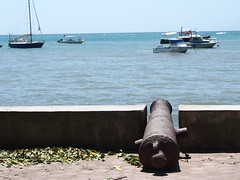 Old canons from the portugees colonial periode watching the harbour!