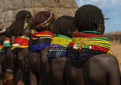 Nyangatom tribe women with huge necklaces in a line, Omo valley, Kangate, Ethiopia (Eric Lafforgue) Tags: africa people color horizontal outdoors necklace women day adult african decoration jewelry tribal blackpeople bead omovalley rearview tradition ethiopia tribe ethnic adultsonly cultural jewel developingcountry ethnicity hornofafrica ethnology ethiopian nomadic omo eastafrica abyssinia traditionalclothing realpeople blackskin beadednecklace bume ruralscene africanethnicity indigenousculture africanculture ethnicgroup bodyadornment kangate blackethnicity ethiopianethnicity kangatan ngakaaly ethio161775