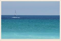 Erinnerung ( eulenbilder - berti ) Tags: strand wasser sommer urlaub bretagne blau weiss segelboot kste wellen atlantik sehnsucht eulenbilder2015