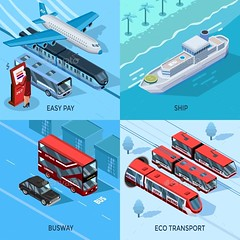Passenger Transport Isometric 2X2 Design Concept (Travel) (hypesol) Tags: travel urban bus public water car station truck river subway airplane automobile traffic metro trolley transport elements transportation delivery vehicle driver info passenger courier departure schedule travelers scoreboard intercity logistic