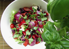 raw vegan salad (tarengil) Tags: red food color green vegetables tomato pepper salad vegan raw purple herbs olive vegetarian oil basil vinegar onion veggies balsamic radish cashew
