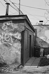 Brick Shed (geowelch) Tags: toronto blackwhite chinatown 35mmfilm pentaxmx c41 urbanfragments xp2400 pentaxm50mmf17 plustekopticfilm7400
