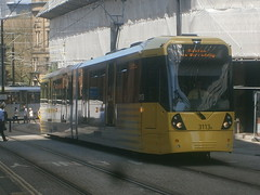 3113 @ Shudehill (ianjpoole) Tags: manchester metrolink approaching shudehill 3113