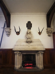 The Master's Hearth (Steve Taylor (Photography)) Tags: red newzealand christchurch sculpture brown white black art museum architecture wooden fireplace glow horns canterbury carving bust nz sword hearth southisland trophy vignette buttress panelling
