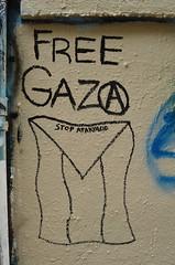 9/8/2014 Free Wall (sixheadedgoblin) Tags: anarchy scrawl publicart olympiawashington gaza freewall stopapartheid freegaza