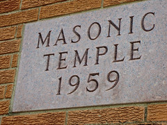 Masonic Temple, Chillicothe, MO (Robby Virus) Tags: stone temple carved masonic missouri masons chillicothe fraternal organization cornerstone 1959 inscription freemasons afam