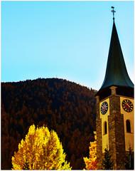 10.55 a.m. in Zermatt  (www.nathalie-chatelain-images.ch) Tags: autumn trees clock church automne gold nikon arbres zermatt horloge glise larches dor cadran mlzes vaiais