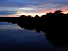 The Edge Of Sunset. June 2016 (SimonHX100v) Tags: nottingham sunset reflection nature silhouette june night river landscape riverside nighttime nottinghamshire rivertrent 2016 gunthorpe sonyhx100v june2016 simonhx100v
