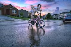 barbie bike (haglundc) Tags: sunset reflection wet bike sony barbie bluehour hdr photomatrix 3exp a6000 ilce6000