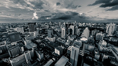 B+W Bangkok Skyline Fisheye (Laith Stevens Photography) Tags: life city skyline clouds buildings thailand asia bangkok capital olympus clear huge omd em1 goneawol cloud47 olympusinspired