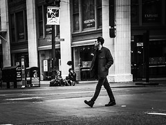 On Broadway (TMimages PDX) Tags: road street city people urban blackandwhite monochrome buildings portland geotagged photography photo image streetphotography streetscene sidewalk photograph pedestrians pacificnorthwest avenue vignette fineartphotography iphoneography