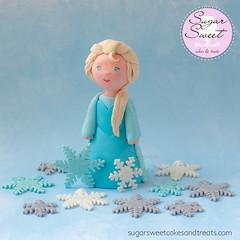 Elsa Frozen Cake Topper Figurine (SugarSweetCakes (Angela)) Tags: snowflakes frozen caketopper figurine elsa disneyprincess gumpaste gumpastefigurine sugarfigurine