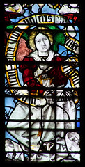 Angel at the Marriage of Joseph and Mary (English glass, 16th Century) (Simon_K) Tags: cambridge college university chapel stainedglass tudor kings cambridgeshire eastanglia 16thcentury cambs