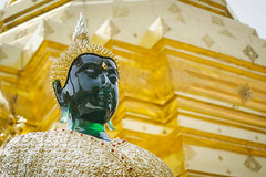 Emerald Buddha (tylerkingphotography) Tags: travel building green face statue architecture thailand temple photography gold golden nikon worship southeastasia photographer outdoor buddha stupa prayer buddhism explore backpacking thai idol 1855mm traveling amateur emerald d3100