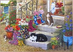 Puss'n'Boots (Tracy Hall) (Leonisha) Tags: cats chats boots puzzle katzen jigsawpuzzle stiefel