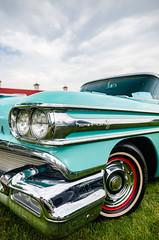 Worth its weight in chrome (GmanViz) Tags: sky color detail car wheel nikon automobile tire headlights bumper fender chrome 1958 grille oldsmobile gmanviz d7000