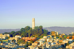 Coit Tower (jerimiah1martinez) Tags: sanfrancisco blue trees houses sky green tower berkeley flickr skies view purple zoom social hills direction research views coittower land eastbay ike condensed compact ucberkeley nolimits sfflickrsocial inacoolbrith d5300 jojomug45 jerimiahricophotography jerimiahrico