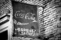 Coke sign (Pablo Arrigoni) Tags: old bw white black brick ladrillo abandoned blanco argentina argentine sign wall america canon logo outside pared eos cola south country negro coke oxido bn campo letrero viejo coca ladrillos cartel afuera abandonado 18135 70d eos70d