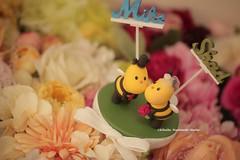 Kissing Bees bride and groom wedding cake topper (charles fukuyama) Tags: wedding cute bridalshower unique clay gift custom weddingceremony brideandgroom sculpted initials weddingdetails  bridalbouquet weddingcaketopper lovebee handmadecaketopper bridalbirdcage wordscaketopper