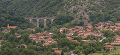 the bridge () Tags: bridge panorama train photography village railway roofs bulgaria traveling balkans balkan    highes  bunovo