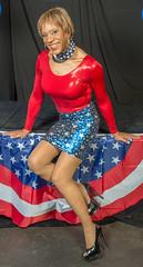 Patriotic Kacey! (kaceycd) Tags: crossdress tg tgirl lycra spandex wetlook metallic bodysuit leotard minidress tubedress pantyhose pumps highheels stilettopumps stilettoheels sexypumps stilettos peeptoepumps opentoepumps platformpumps s