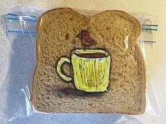 Huge Coffee Cup or Tiny Bird? (D Laferriere) Tags: bird art bag dad drawing sandwich doodle mug sharpie attleboro laferriere kritzels