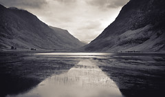 Glencoe Loch Achtriochtan 2 (JB Morlot) Tags: uk mountain lake reflection heritage film monochrome sepia clouds vintage mediumformat landscape hope scotland vanishingpoint highlands fishing solitude loneliness fuji decorative space faith fineart hunting calm zen destiny serenity glencoe duotone 6x9 dreamy meditation loch wilderness moor eternity largeformat mystic timeless endless otherworld tranquillity fujigsw690iii lochachtriochtan