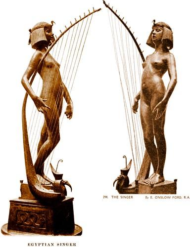music female naked nude tate victorian egyptian harp adolescent tatebritain tintedphotograph thesinger edwardonslowford newsculpture onslowford