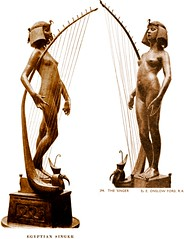 Edward Onslow Ford (1852-1901) - The Singer (1889), two antique book photos digitally tinted to simulate brown wax coating (ketrin1407) Tags: music female naked nude tate victorian egyptian harp adolescent tatebritain tintedphotograph thesinger edwardonslowford newsculpture onslowford