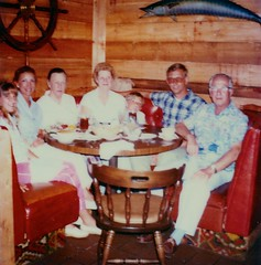 Florida   -   St. Augustine Beach   -   Dinner at Palermo's   -   May 1984 (Ladycliff) Tags: john jessica florida barbara oma jeb syl bigdaddy staugustinebeach