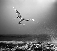 Escape (McSnowHammer) Tags: bw france out ir la big jump air wave hossegor surfing aerial acrobatics infrared pro 2012 quiksilver bailing graviere