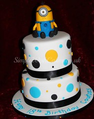 Minions Cake (Simple Wish Cakes) Tags: birthday blue black yellow cake spots minions minion