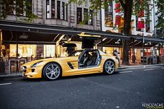 SLS (Keno Zache) Tags: black car yellow mercedes flying automotive series düsseldorf epic luxury matte sls amg keno zache
