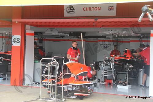 Max Chilton's Marussia garage at the 2013 Spanish Grand Prix